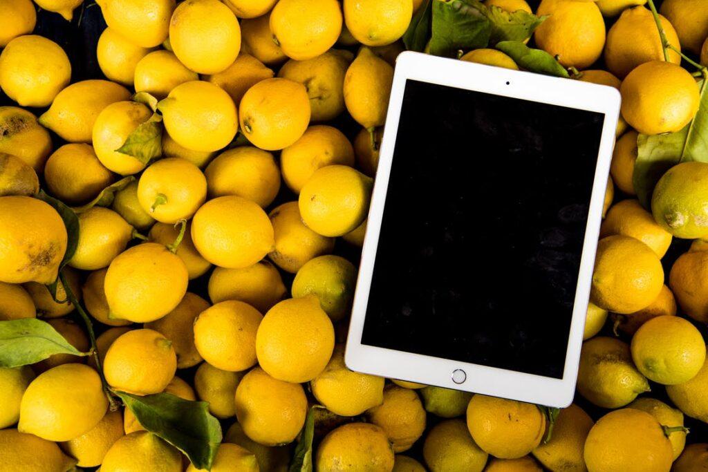 foodtech tablet em cima de limoes